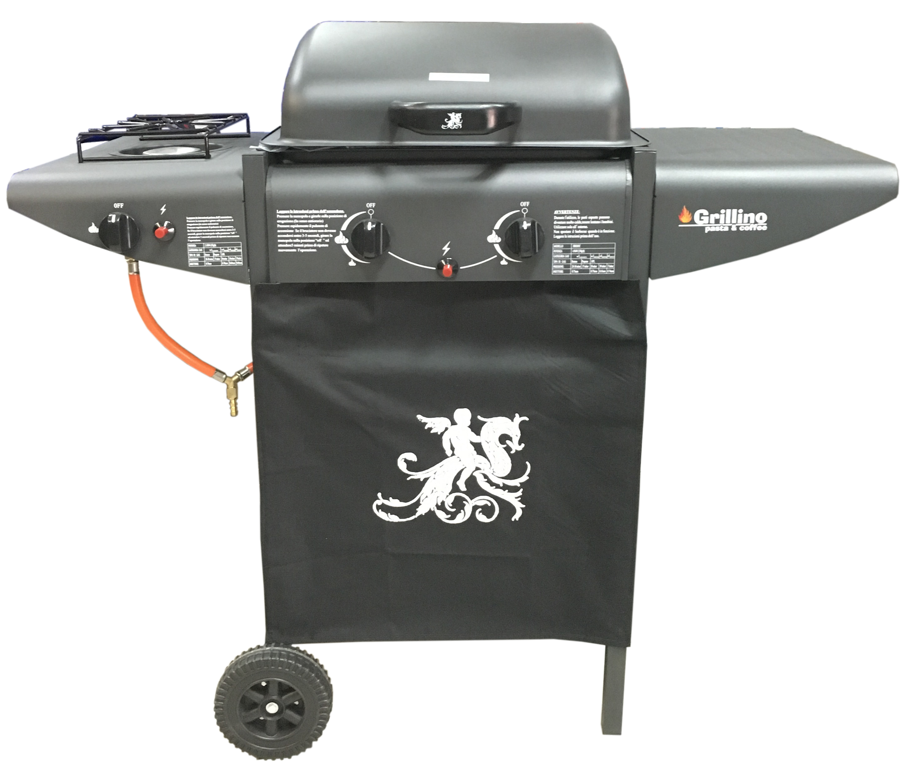 BARBECUE GAS GRILLINO CON 1 FORNELLO LATERALEED 1 PIANO LATERALE
