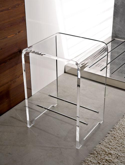 Sgabello plexi trasparente h 40 k180 tr tlbatportata max for Sgabello plexiglass doccia