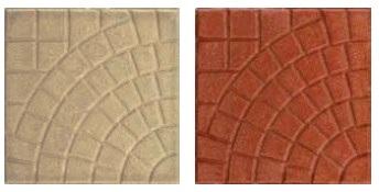 Pavimento 25x25 Ventaglio Rosso In Cemento Spessore 2 Cm