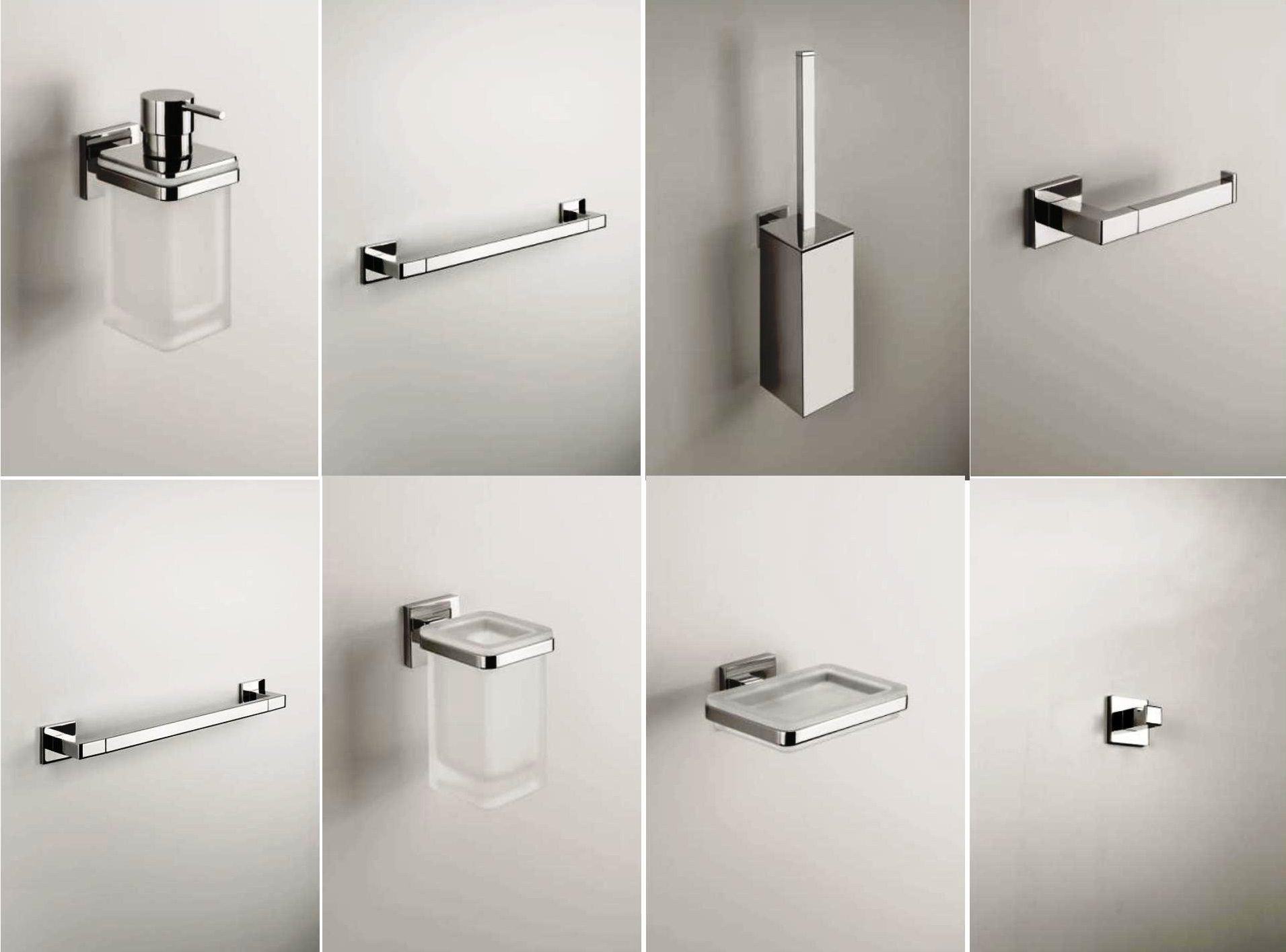 Serie accessori bagno 8 pezzi basic quadra - De Rosa Srl