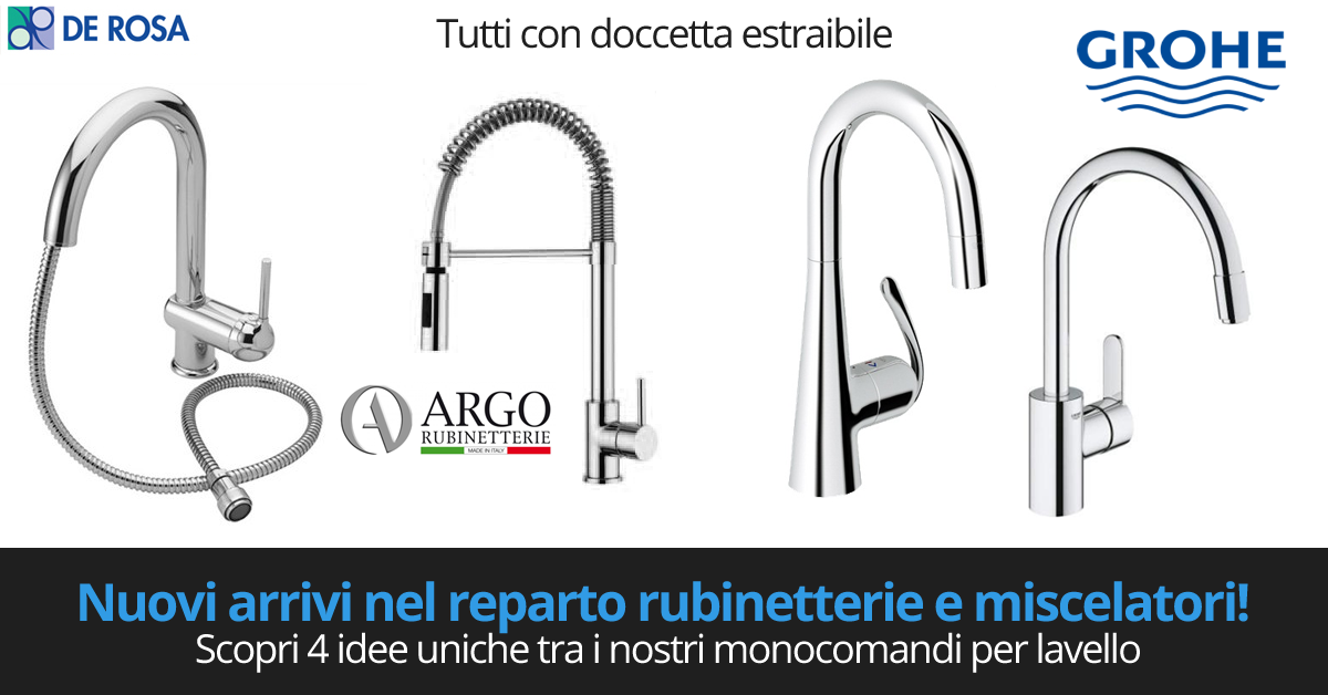 Monocomandi Miscelatori Per Lavello Con Doccetta De Rosa